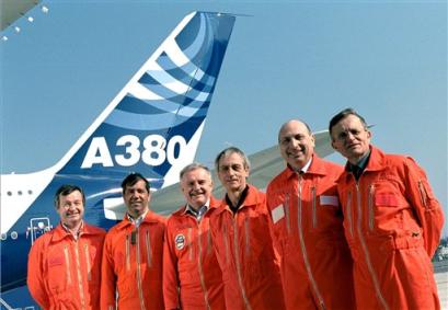 The crew of the A380's first flight